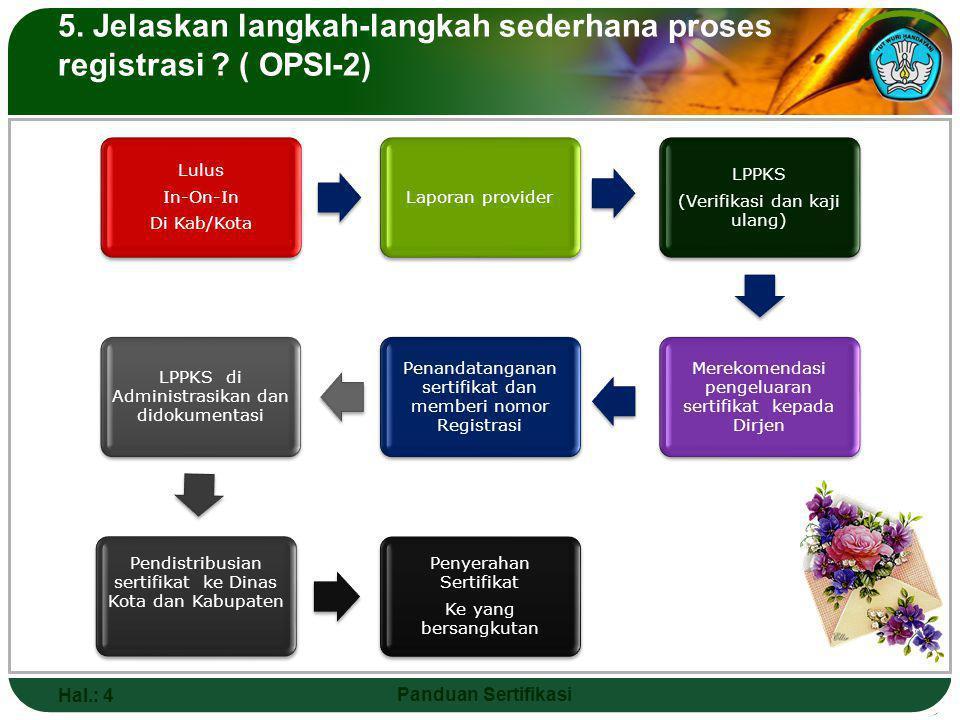 5. Jelaskan langkah-langkah sederhana proses registrasi ( OPSI-2)