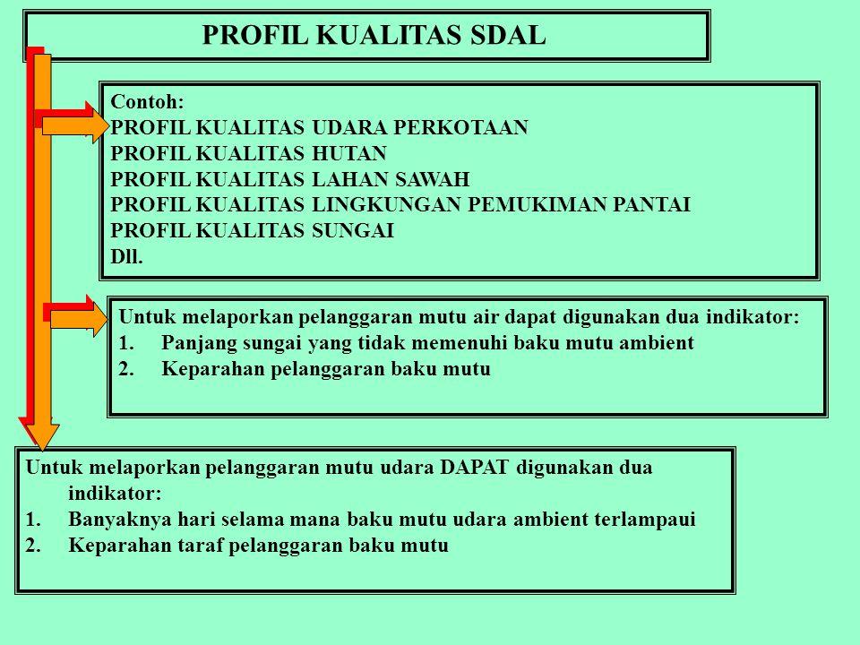 PROFIL KUALITAS SDAL Contoh: PROFIL KUALITAS UDARA PERKOTAAN