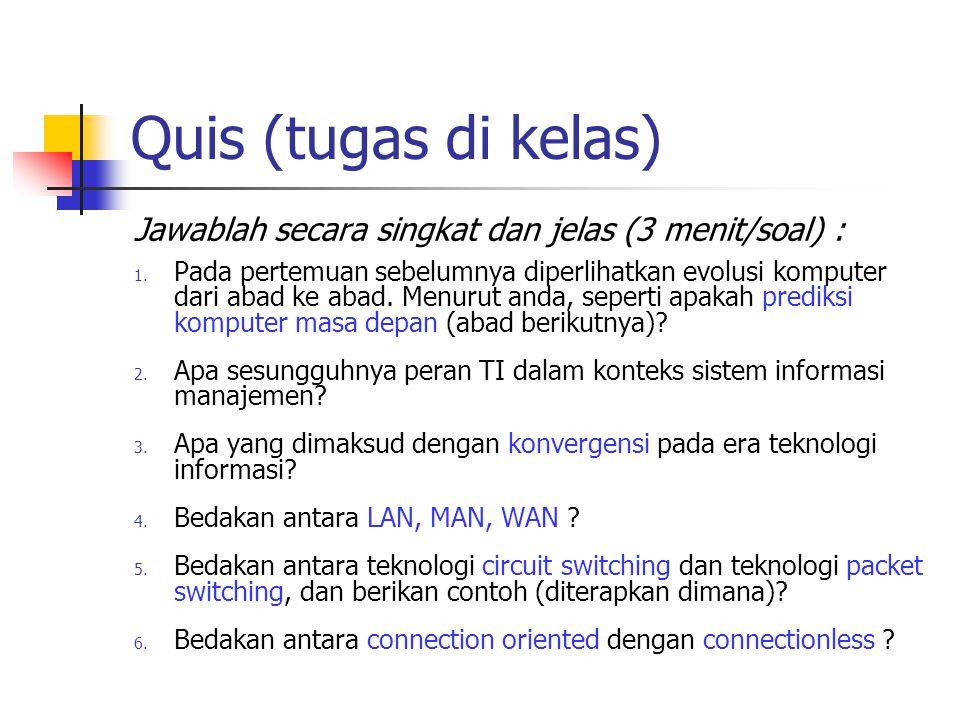 Quis (tugas di kelas) Jawablah secara singkat dan jelas (3 menit/soal) :