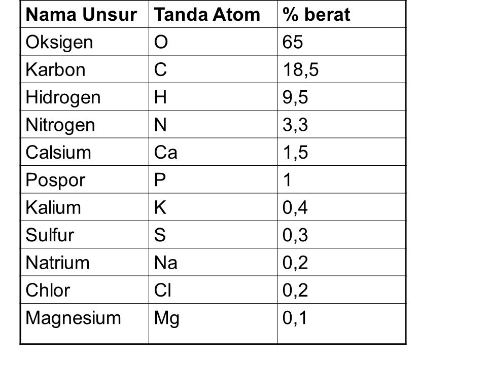 Nama Unsur Tanda Atom. % berat. Oksigen. O. 65. Karbon. C. 18,5. Hidrogen. H. 9,5. Nitrogen.