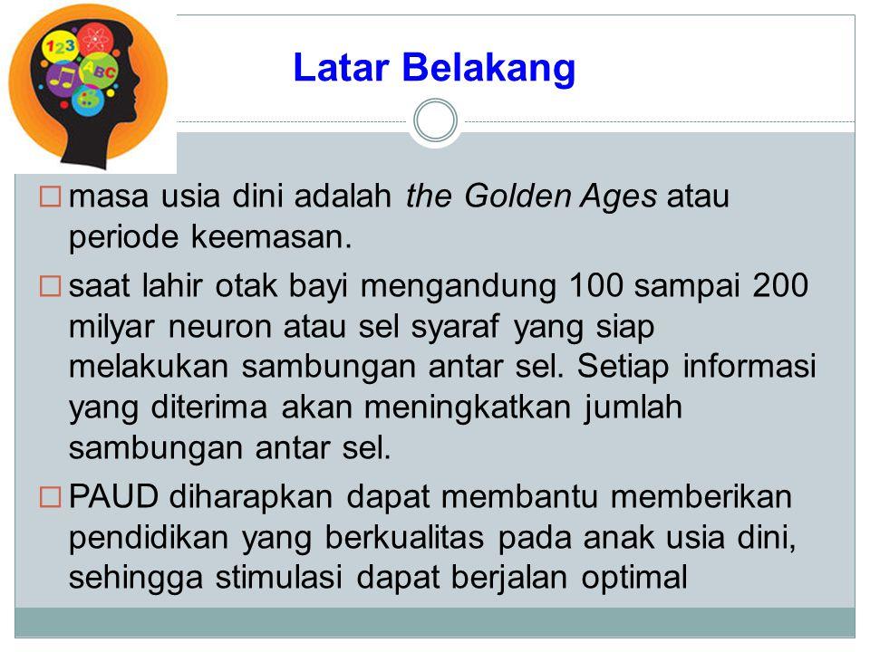 Latar Belakang masa usia dini adalah the Golden Ages atau periode keemasan.
