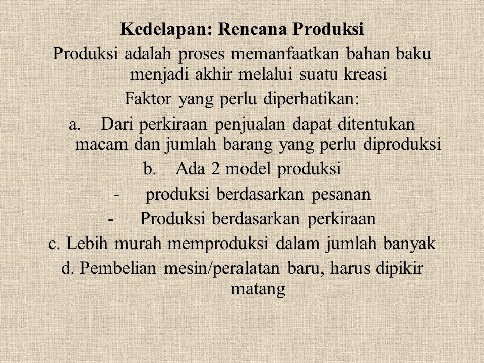 Kedelapan: Rencana Produksi