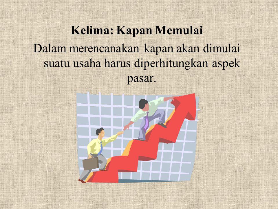 Kelima: Kapan Memulai Dalam merencanakan kapan akan dimulai suatu usaha harus diperhitungkan aspek pasar.