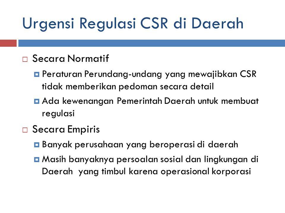 Urgensi Regulasi CSR di Daerah