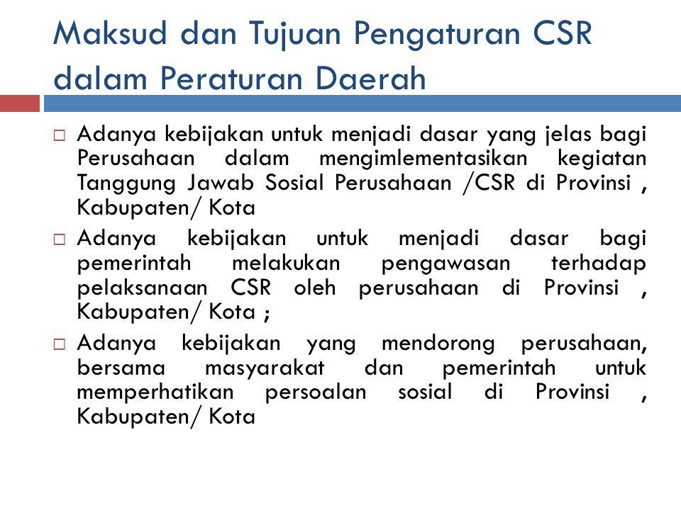 Maksud dan Tujuan Pengaturan CSR dalam Peraturan Daerah