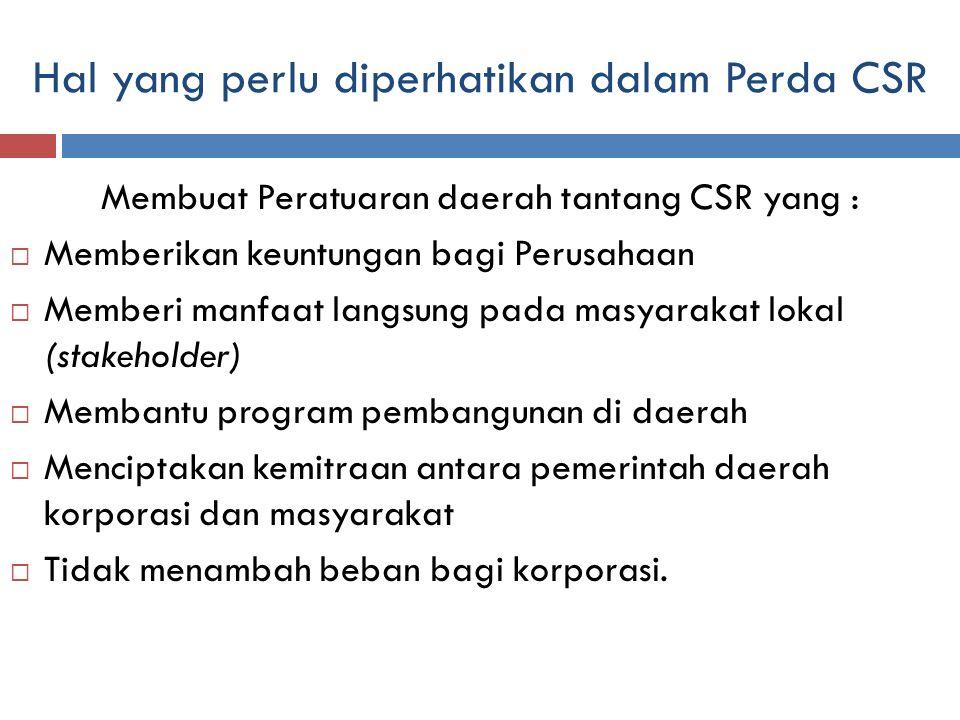 Hal yang perlu diperhatikan dalam Perda CSR