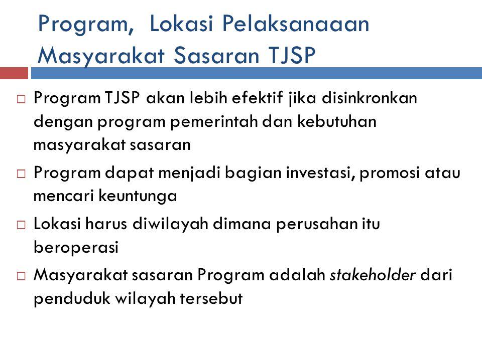 Program, Lokasi Pelaksanaaan Masyarakat Sasaran TJSP