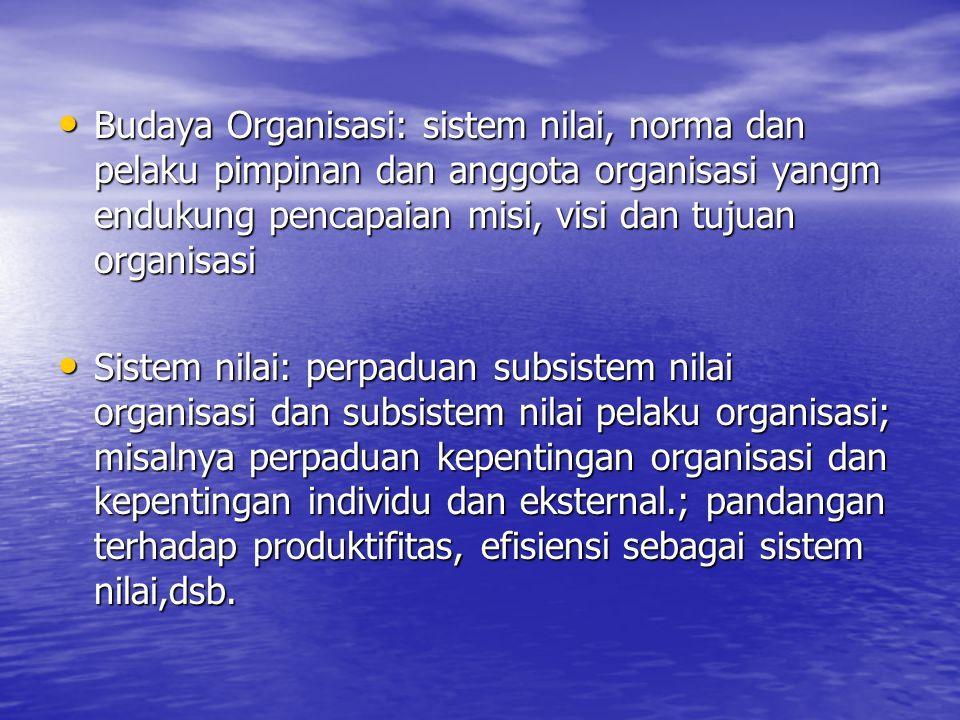 Budaya Organisasi: sistem nilai, norma dan pelaku pimpinan dan anggota organisasi yangm endukung pencapaian misi, visi dan tujuan organisasi