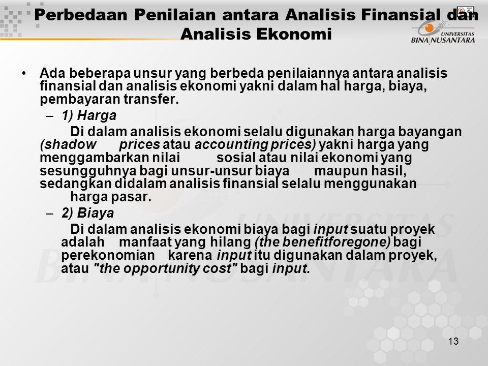Perbedaan Penilaian antara Analisis Finansial dan Analisis Ekonomi
