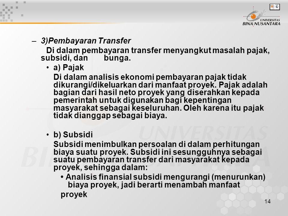 3)Pembayaran Transfer Di dalam pembayaran transfer menyangkut masalah pajak, subsidi, dan bunga. a) Pajak.