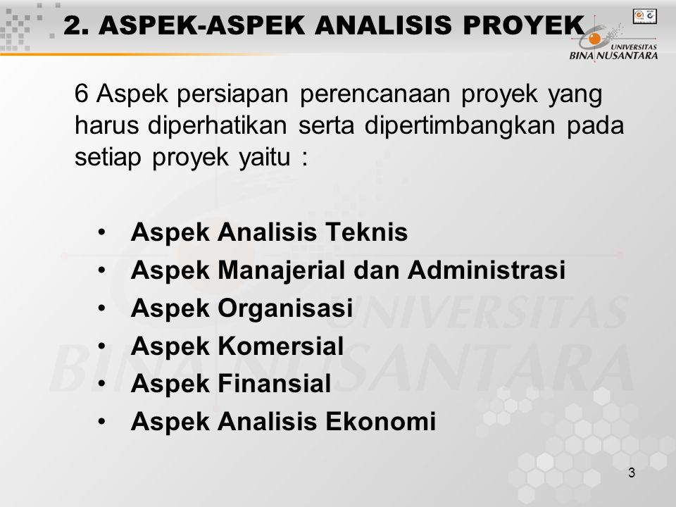 2. ASPEK-ASPEK ANALISIS PROYEK