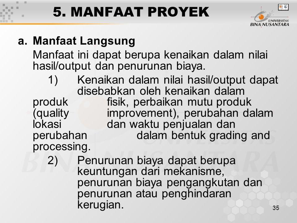5. MANFAAT PROYEK Manfaat Langsung