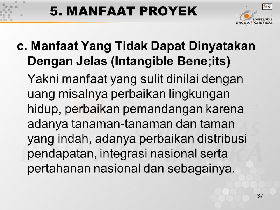 5. MANFAAT PROYEK c. Manfaat Yang Tidak Dapat Dinyatakan Dengan Jelas (Intangible Bene;its)