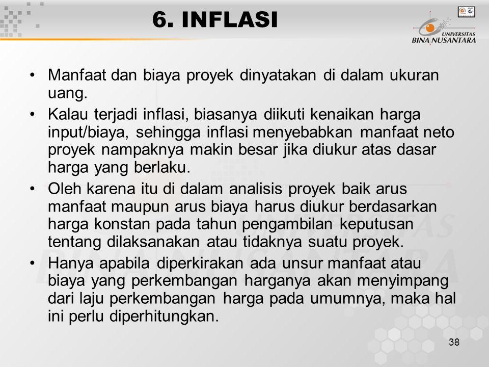 6. INFLASI Manfaat dan biaya proyek dinyatakan di dalam ukuran uang.
