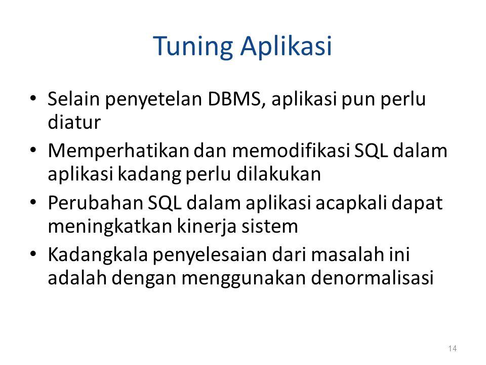 Tuning Aplikasi Selain penyetelan DBMS, aplikasi pun perlu diatur