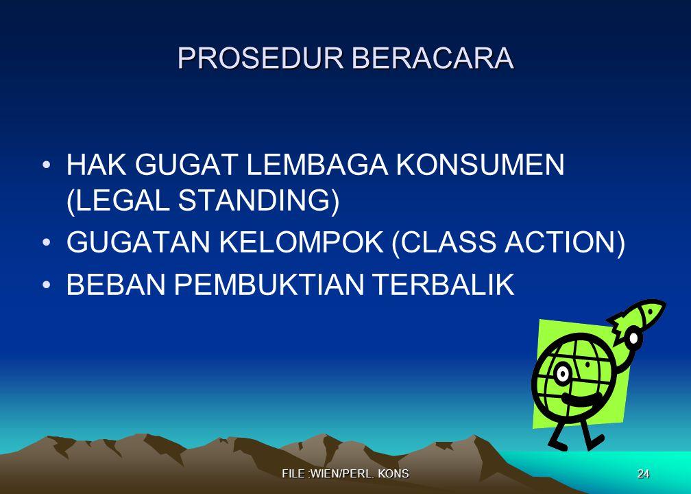 HAK GUGAT LEMBAGA KONSUMEN (LEGAL STANDING)