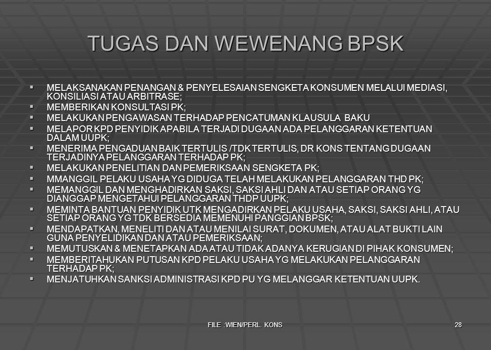 TUGAS DAN WEWENANG BPSK