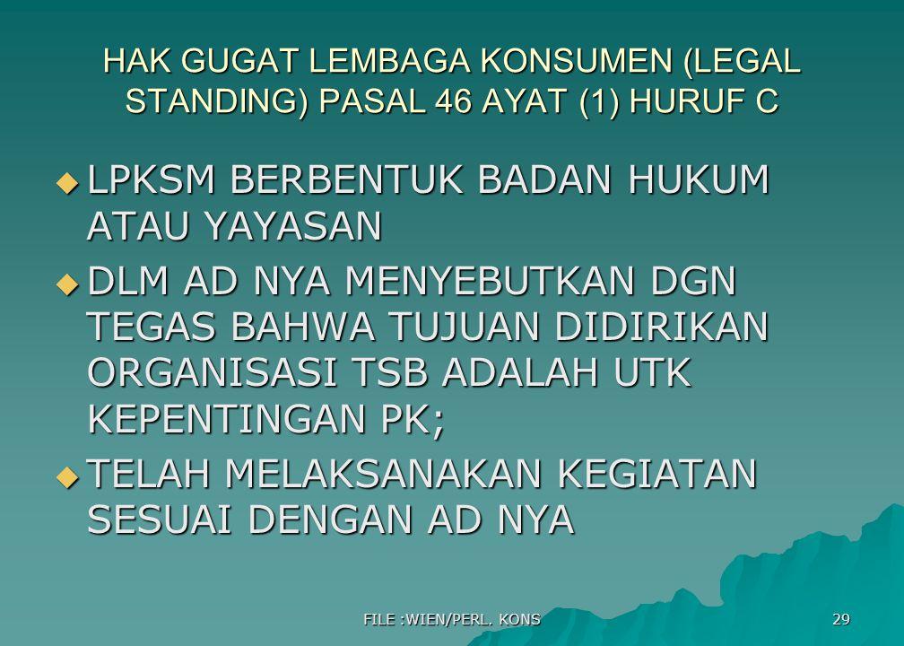HAK GUGAT LEMBAGA KONSUMEN (LEGAL STANDING) PASAL 46 AYAT (1) HURUF C