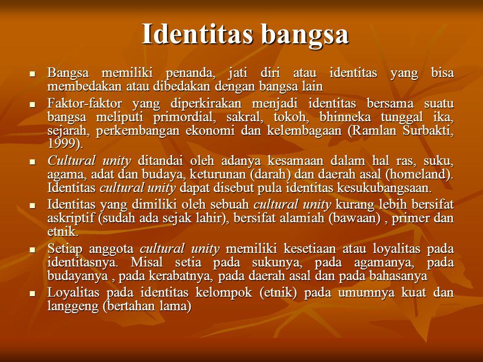 Identitas bangsa Bangsa memiliki penanda, jati diri atau identitas yang bisa membedakan atau dibedakan dengan bangsa lain.