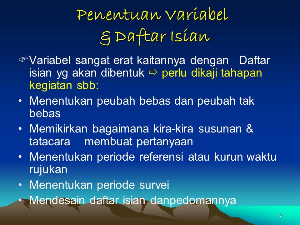 Penentuan Variabel & Daftar Isian