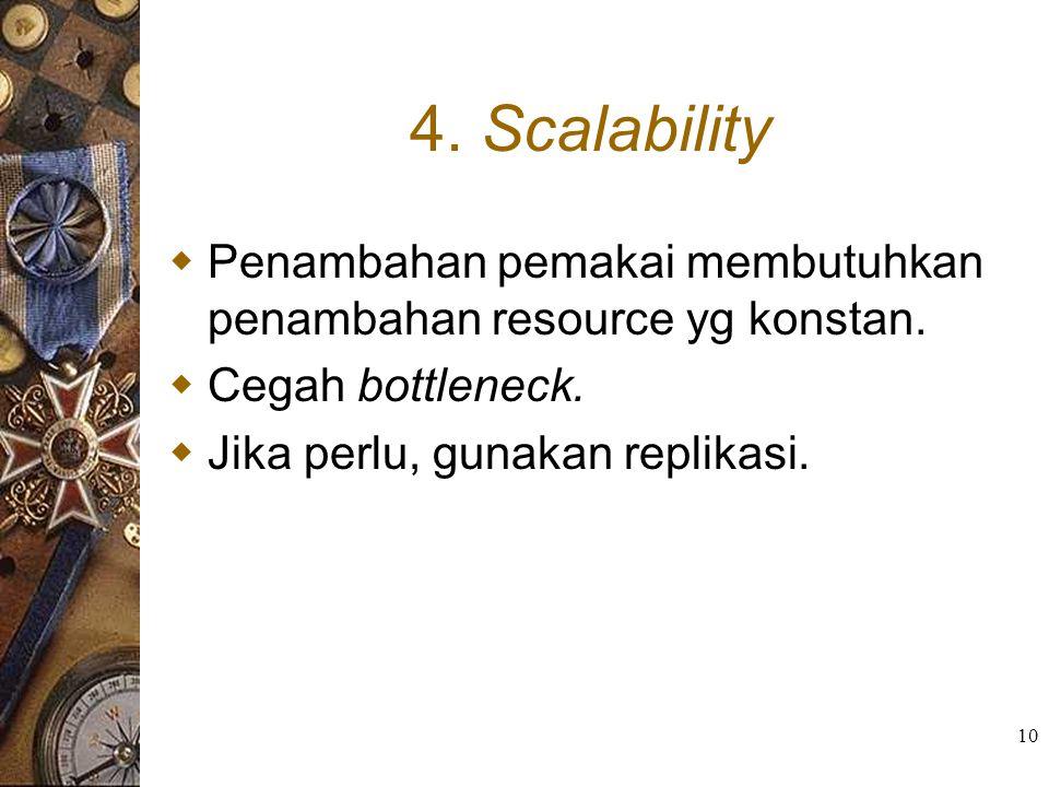 4. Scalability Penambahan pemakai membutuhkan penambahan resource yg konstan.