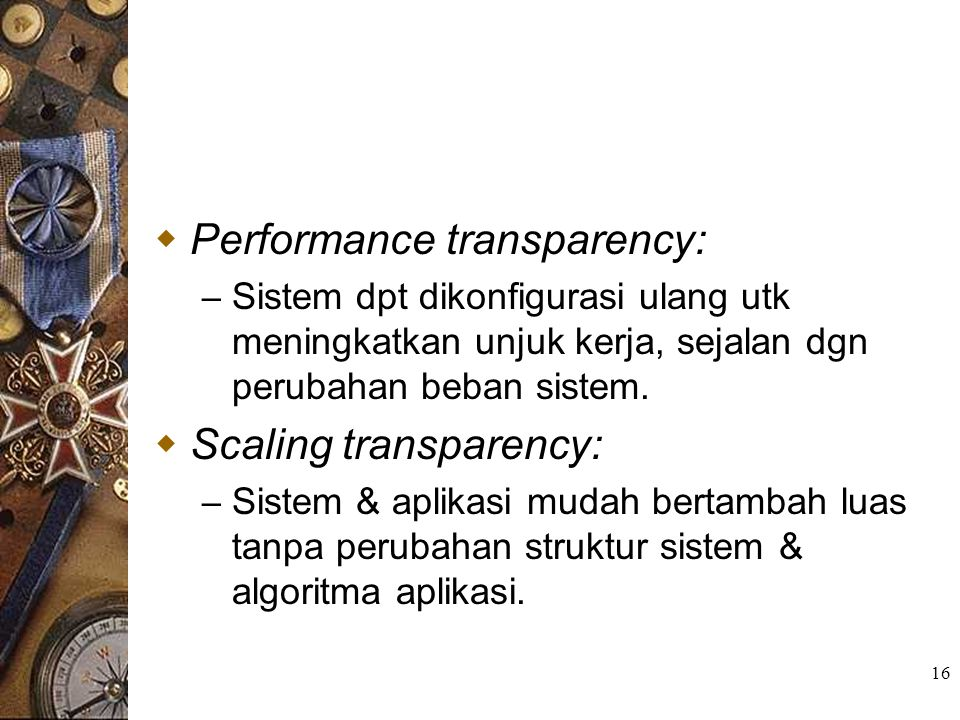 Performance transparency: