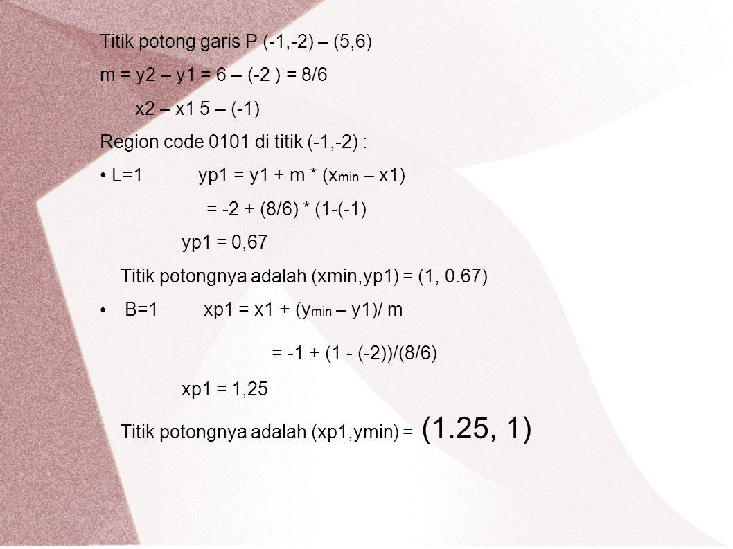= -1 + (1 - (-2))/(8/6) Titik potong garis P (-1,-2) – (5,6)