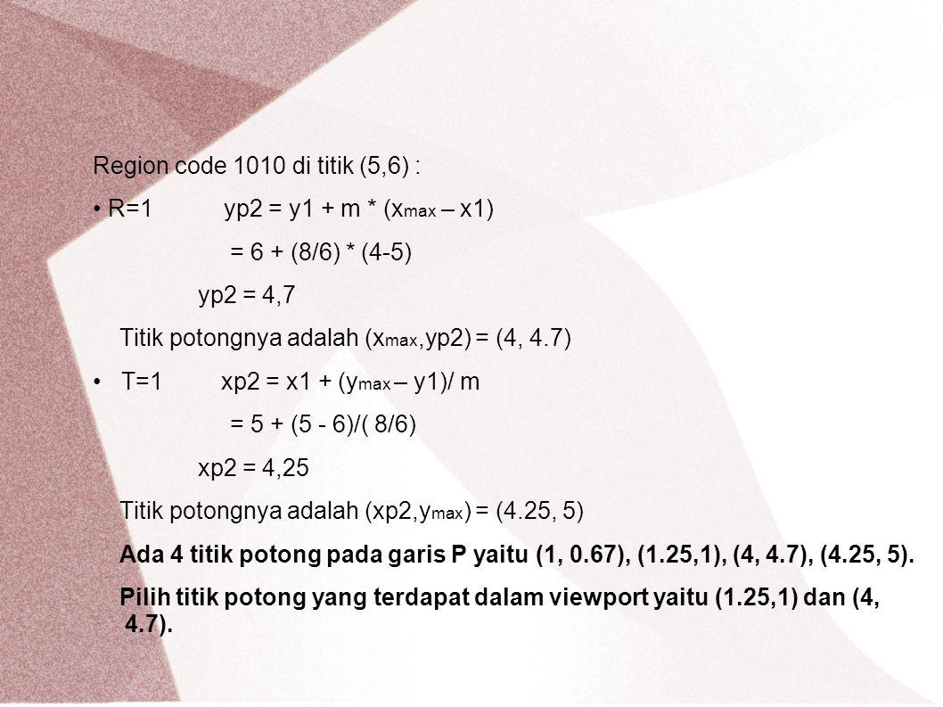 Region code 1010 di titik (5,6) :