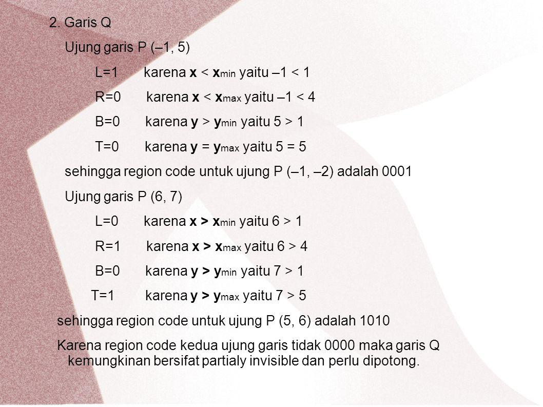 2. Garis Q Ujung garis P (–1, 5) L=1 karena x < xmin yaitu –1 < 1. R=0 karena x < xmax yaitu –1 < 4.