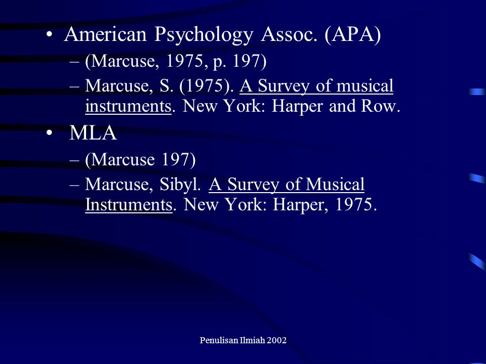 American Psychology Assoc. (APA)