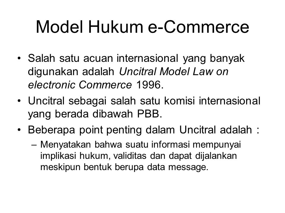 Model Hukum e-Commerce
