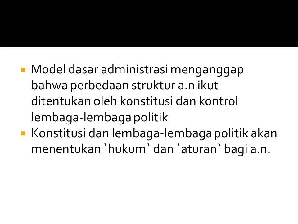 Model dasar administrasi menganggap bahwa perbedaan struktur a