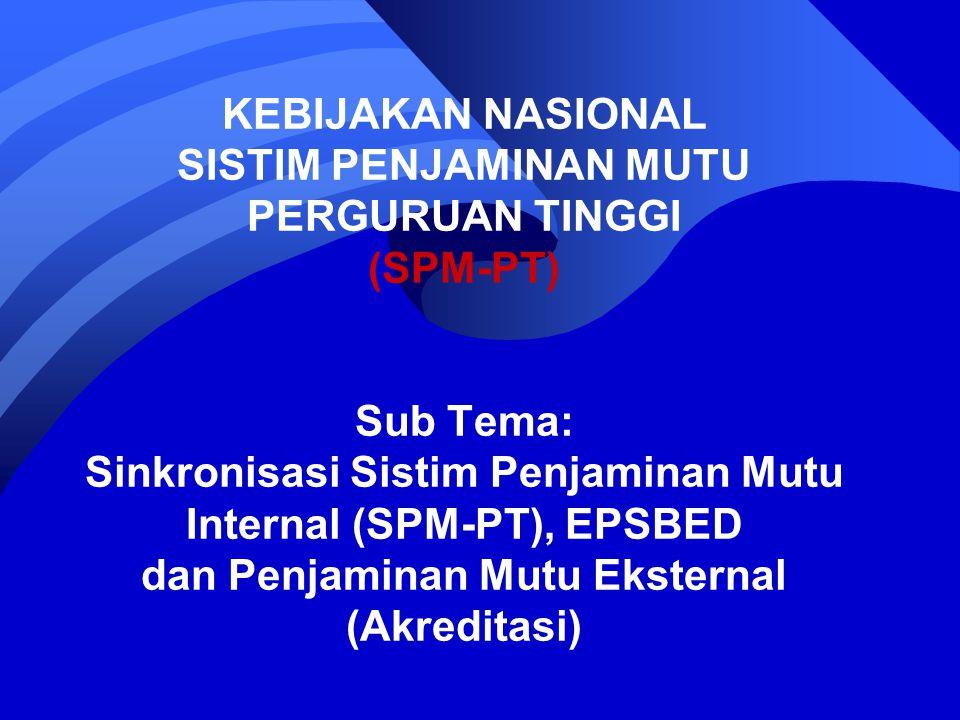 KEBIJAKAN NASIONAL SISTIM PENJAMINAN MUTU PERGURUAN TINGGI (SPM-PT) Sub Tema: Sinkronisasi Sistim Penjaminan Mutu Internal (SPM-PT), EPSBED dan Penjaminan Mutu Eksternal (Akreditasi)