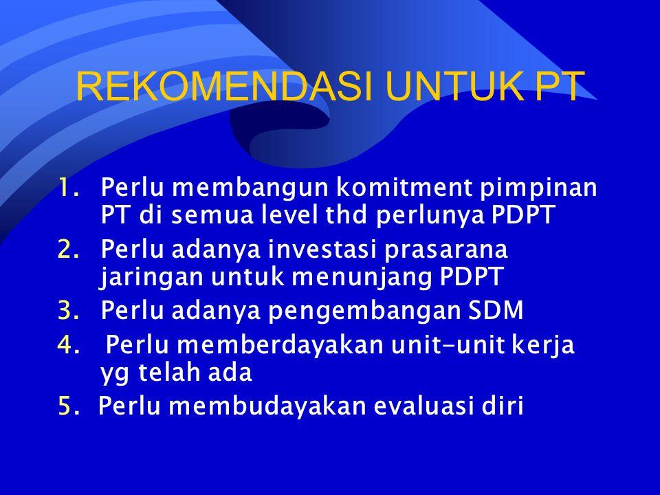 REKOMENDASI UNTUK PT Perlu membangun komitment pimpinan PT di semua level thd perlunya PDPT.