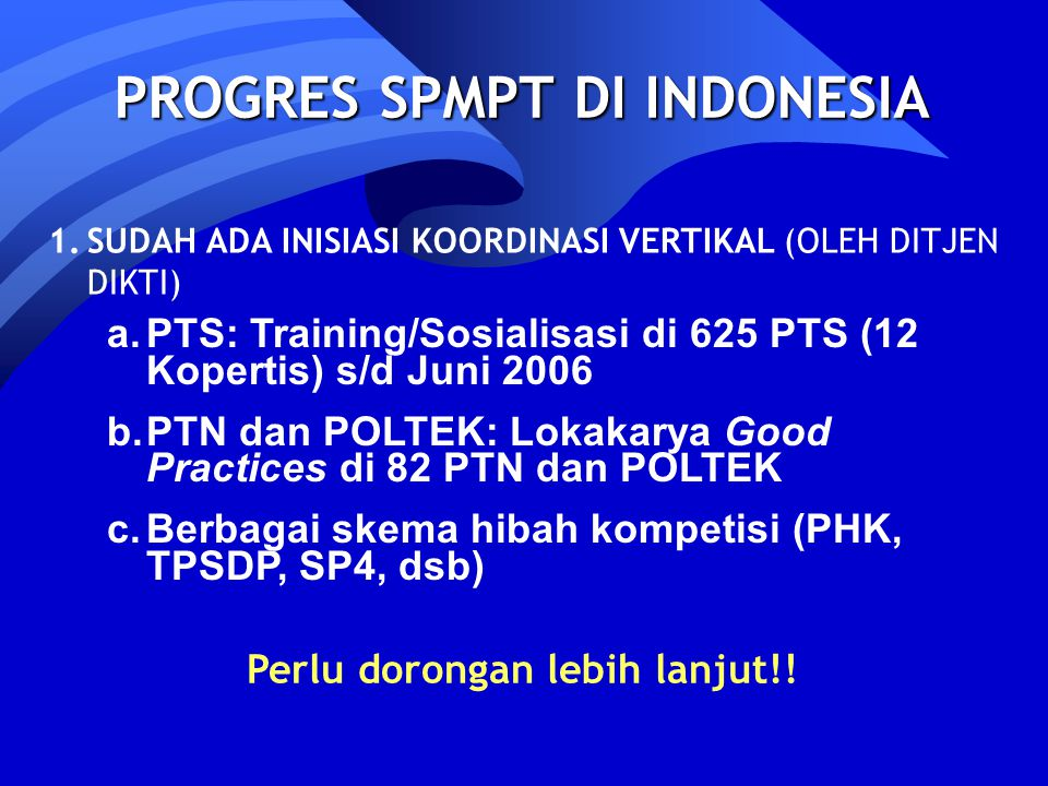 PROGRES SPMPT DI INDONESIA Perlu dorongan lebih lanjut!!