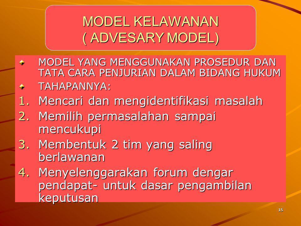 MODEL KELAWANAN ( ADVESARY MODEL)