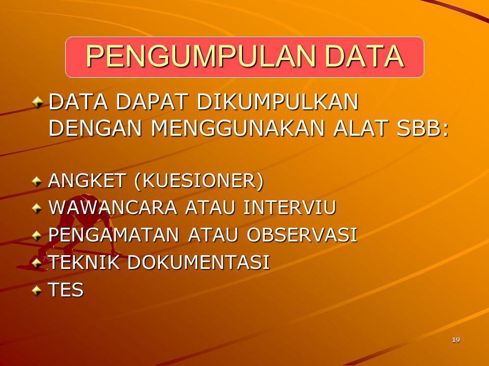 PENGUMPULAN DATA DATA DAPAT DIKUMPULKAN DENGAN MENGGUNAKAN ALAT SBB: