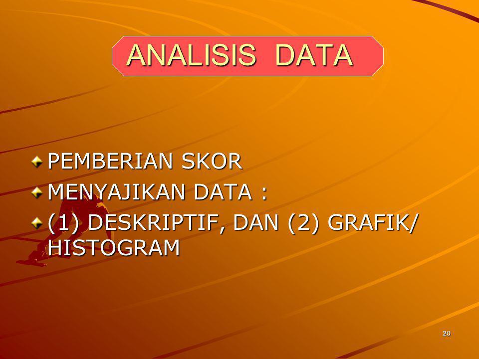 ANALISIS DATA PEMBERIAN SKOR MENYAJIKAN DATA :