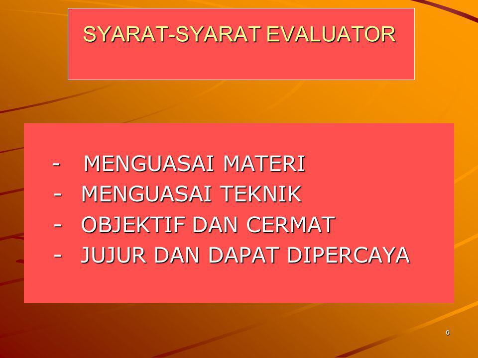 SYARAT-SYARAT EVALUATOR