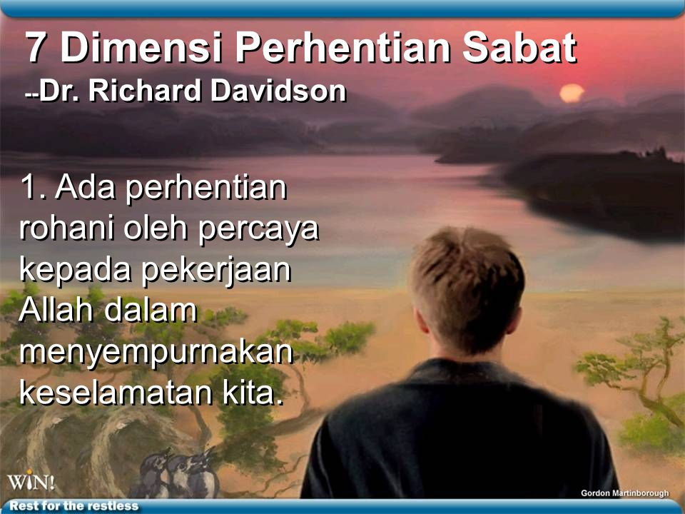 7 Dimensi Perhentian Sabat --Dr. Richard Davidson