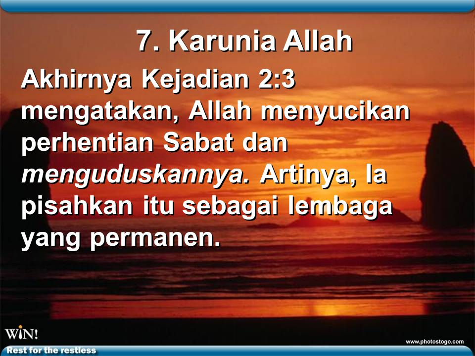 7. Karunia Allah