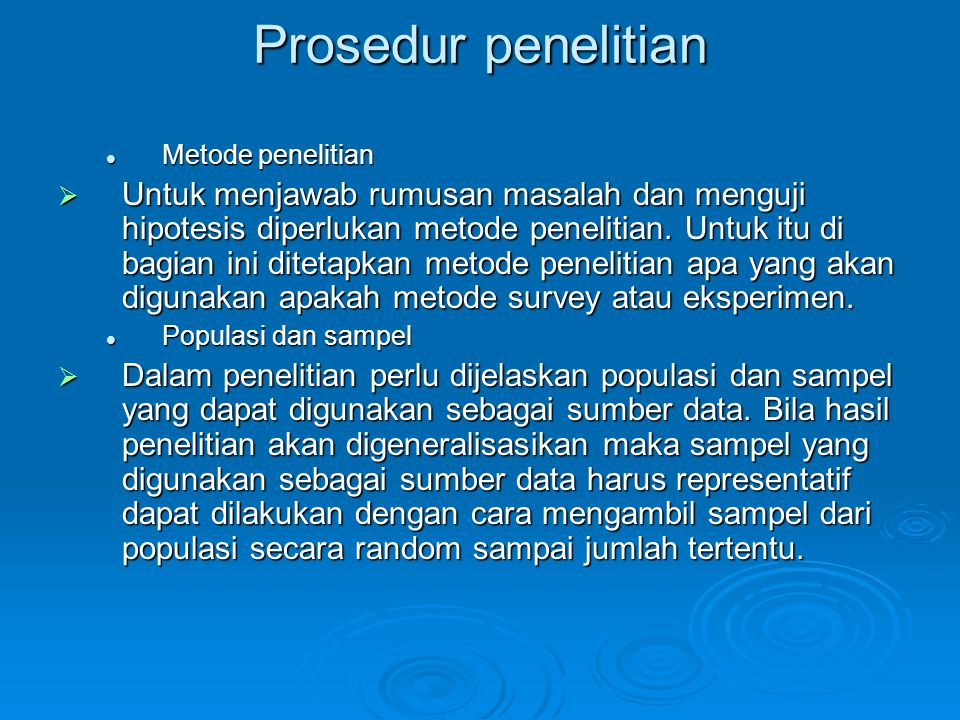 Prosedur penelitian Metode penelitian.