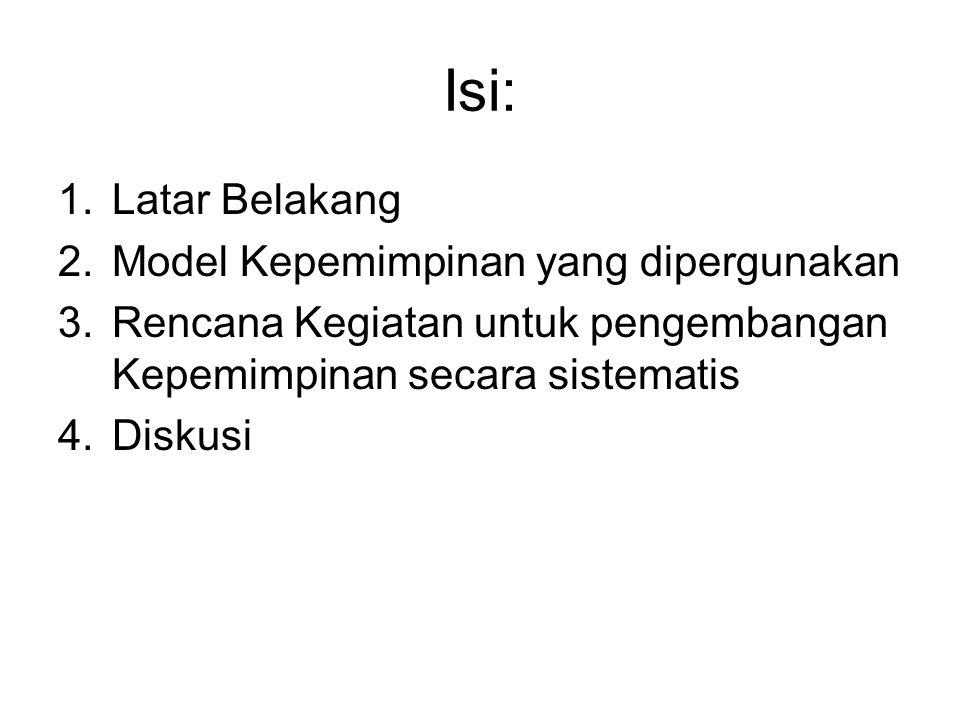 Isi: Latar Belakang Model Kepemimpinan yang dipergunakan