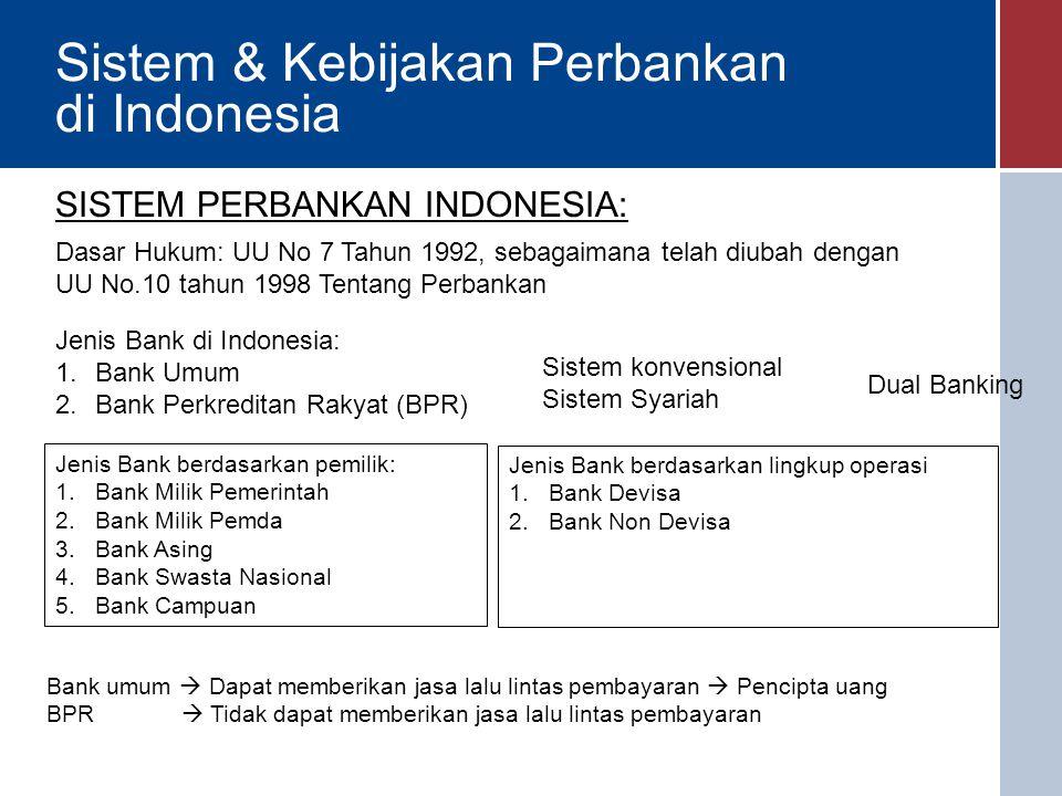 Sistem & Kebijakan Perbankan di Indonesia