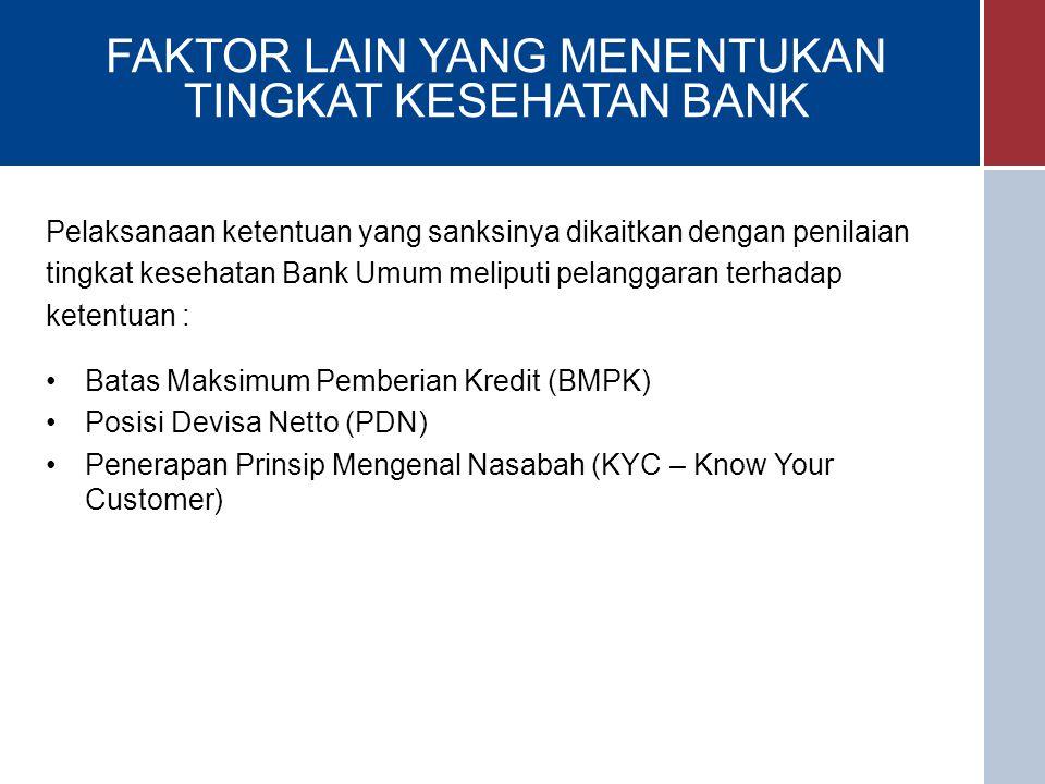 FAKTOR LAIN YANG MENENTUKAN TINGKAT KESEHATAN BANK