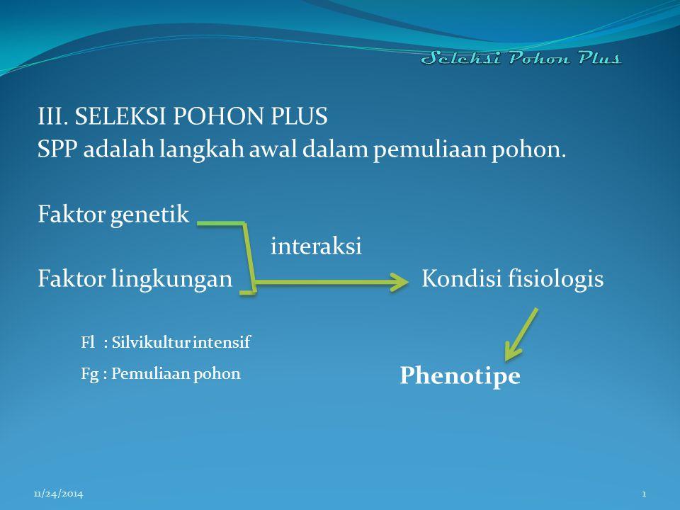 SPP adalah langkah awal dalam pemuliaan pohon. Faktor genetik