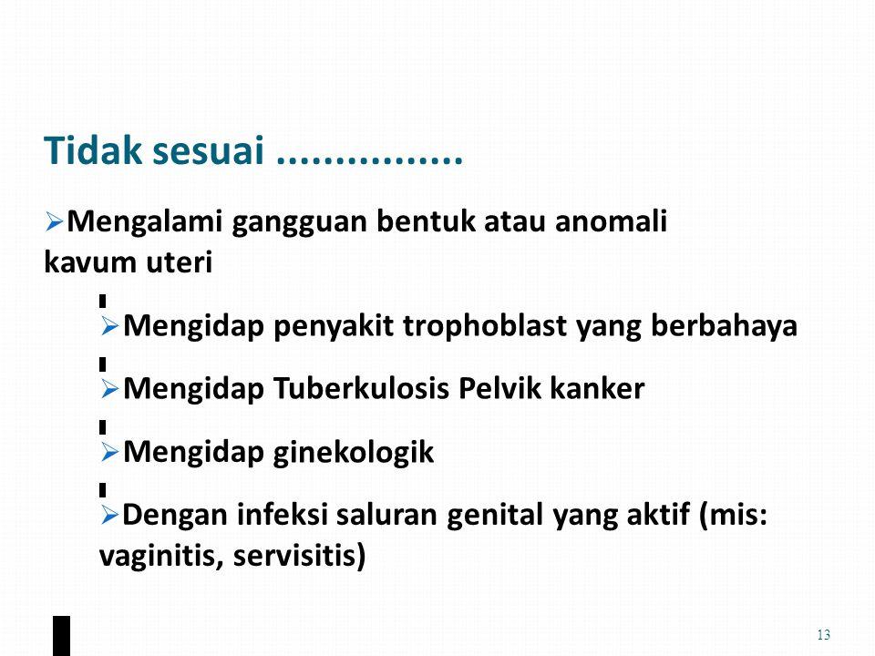 Tidak sesuai ................ penyakit trophoblast yang berbahaya