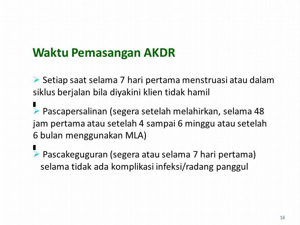 Waktu Pemasangan AKDR siklus berjalan bila diyakini klien tidak hamil