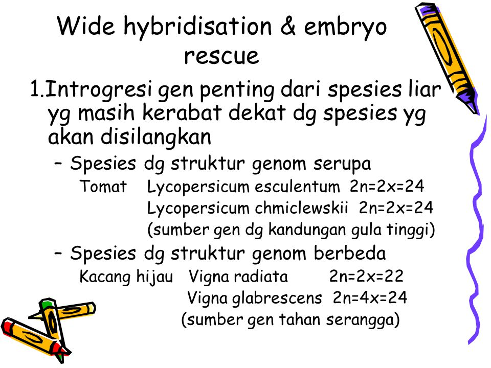 Wide hybridisation & embryo rescue
