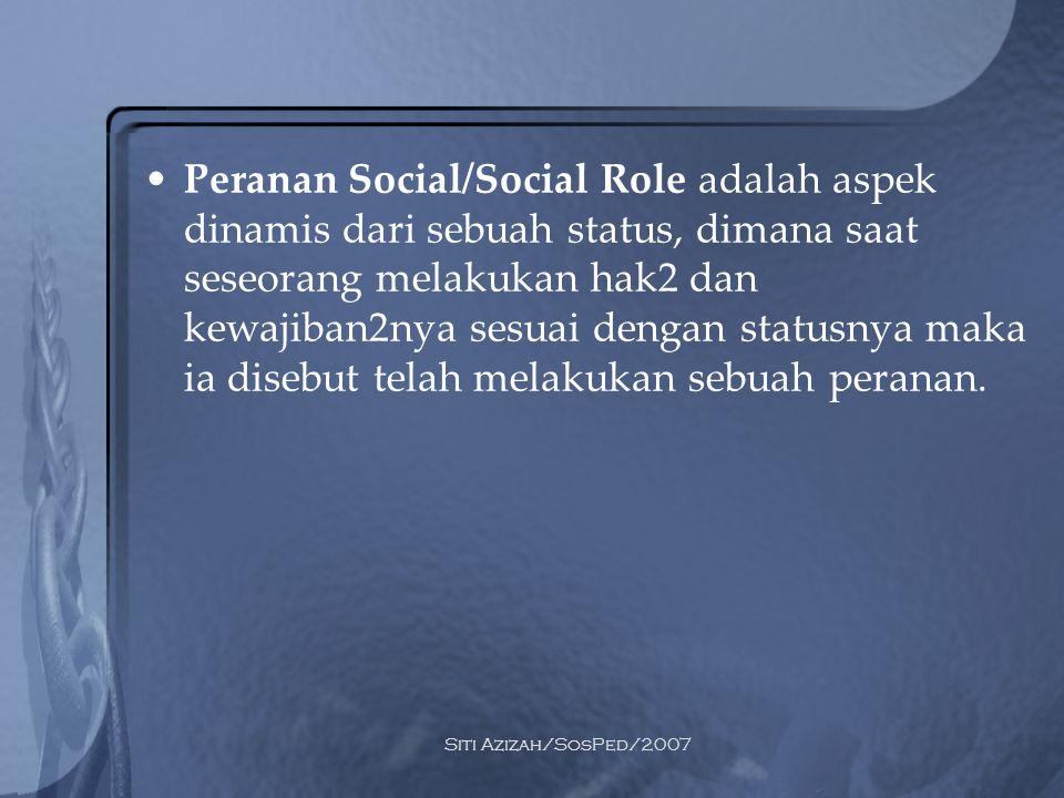 Peranan Social/Social Role adalah aspek dinamis dari sebuah status, dimana saat seseorang melakukan hak2 dan kewajiban2nya sesuai dengan statusnya maka ia disebut telah melakukan sebuah peranan.